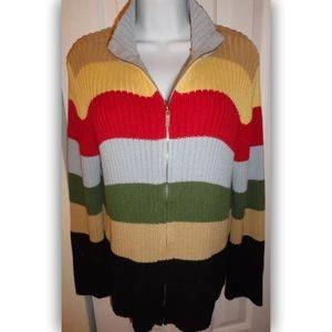 Crazy Horse Striped Zipper Front Cardigan size XL